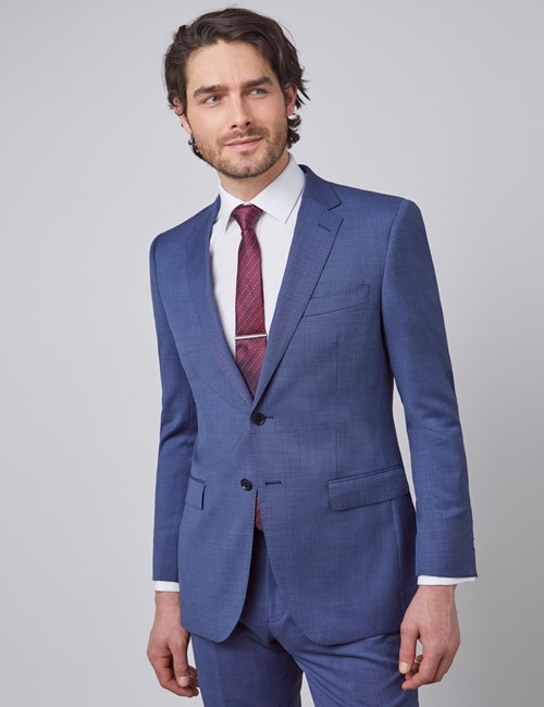 Men's Blue Pin Dot Semi Plain Slim Fit Suit Jacket