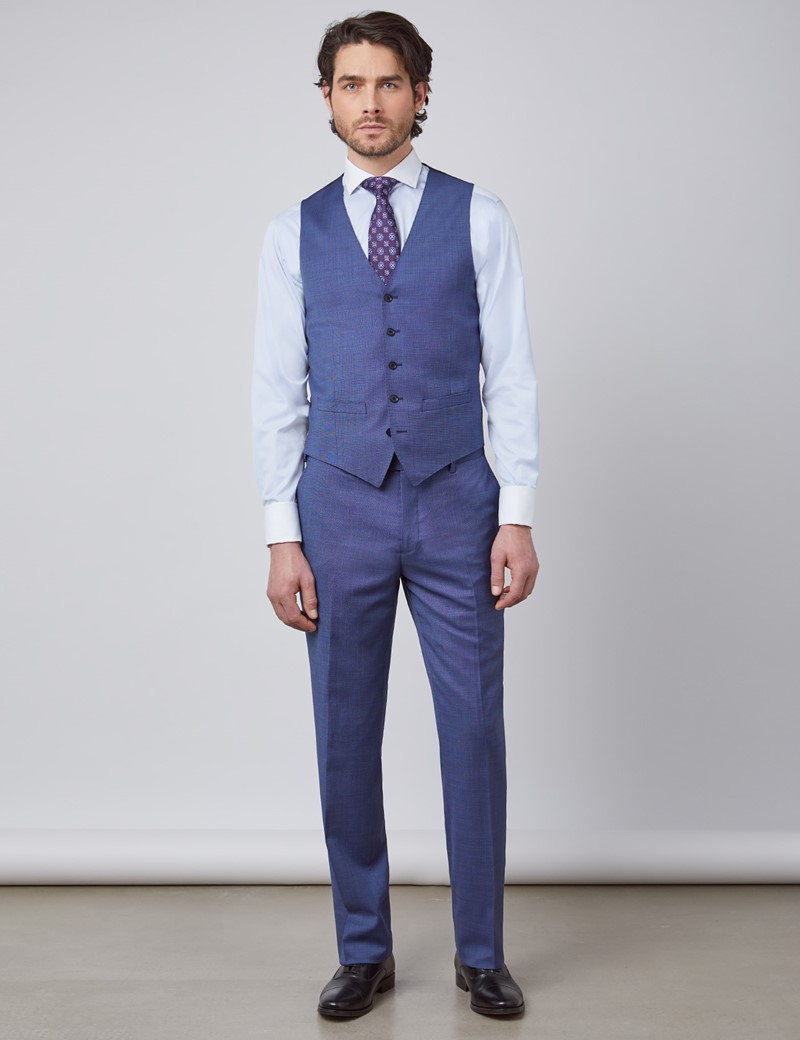 Men's Blue Pin Dot Semi Plain Slim Fit Suit