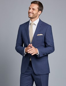 Men's Dark Blue Textured Classic Fit Suit