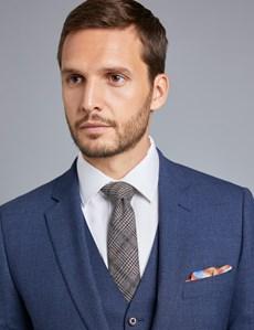 Men's Dark Blue Textured Slim Fit Suit