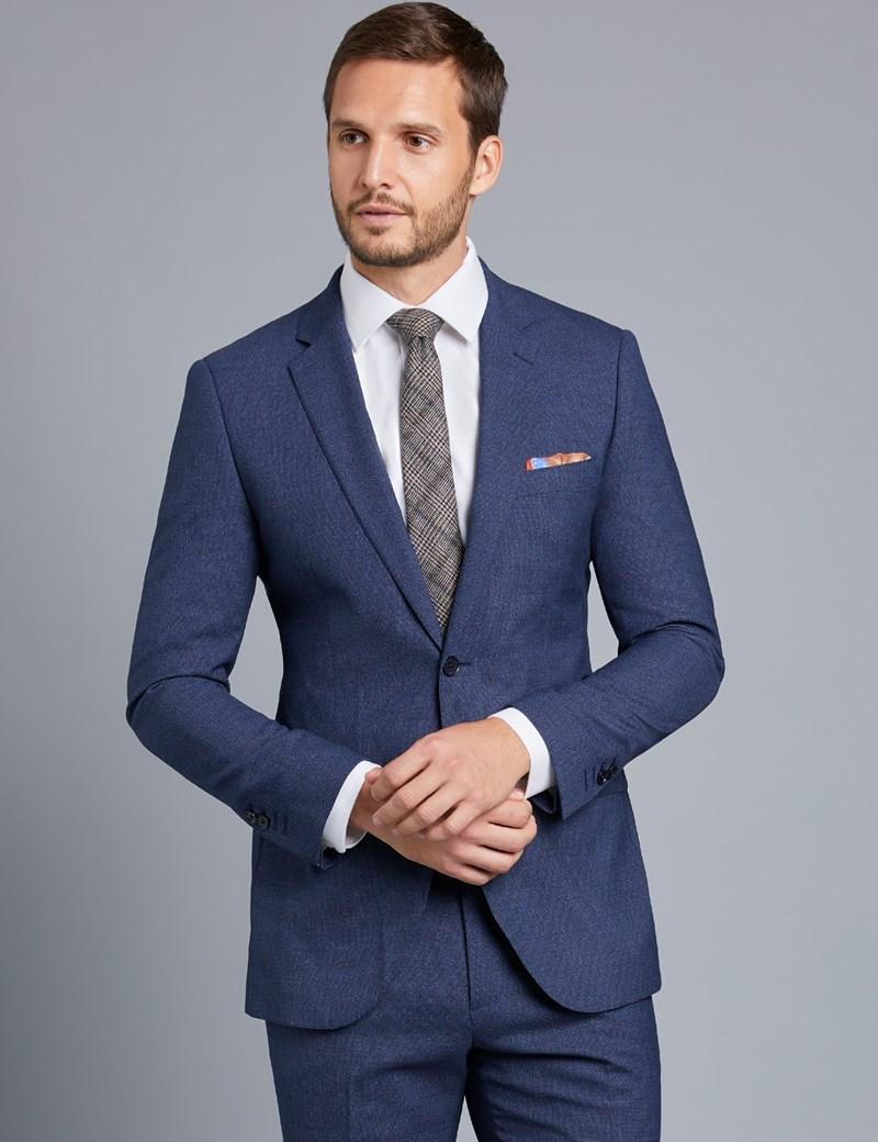 Men S Dark Blue Textured Slim Fit Suit Hawes Amp Curtis