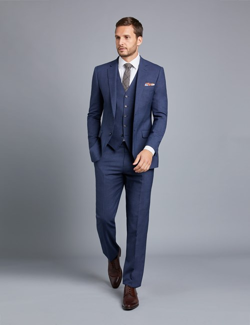Men's Dark Blue Textured Slim Fit Suit