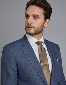 Men's Blue Linen Slim Fit Suit Jacket