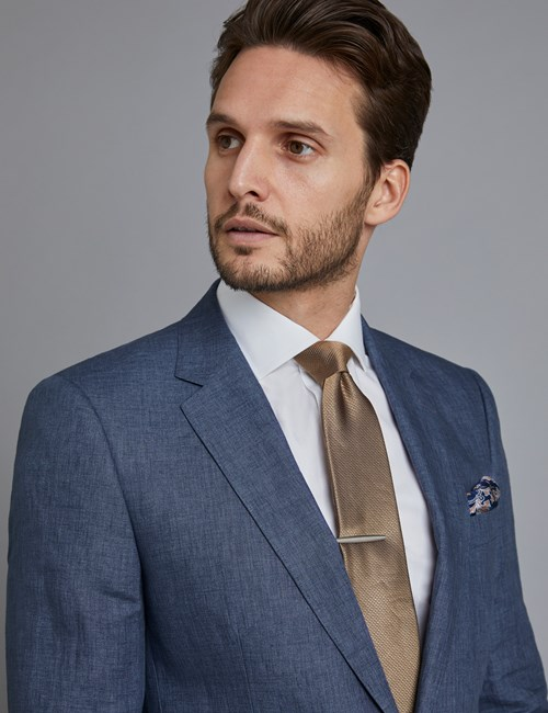 Men's Blue Linen Slim Fit Suit Jacket