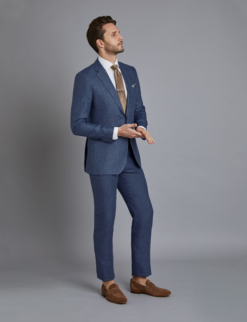 Men's Blue Linen Slim Fit Suit