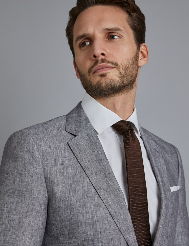 Men's Grey Linen Slim Fit Suit Jacket