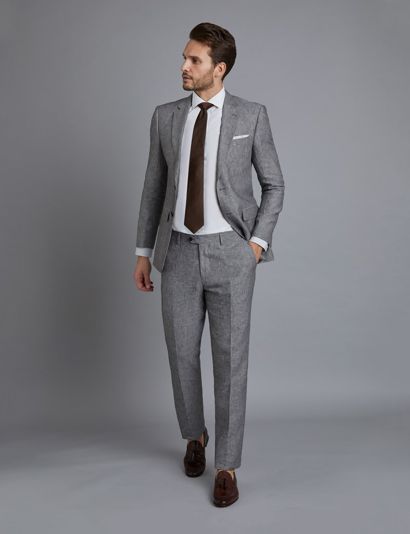 Men\u0027s Grey Linen Slim Fit Suit Jacket