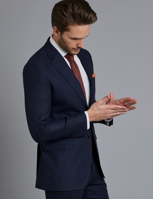 Men's Navy Linen Slim Fit Suit Jacket