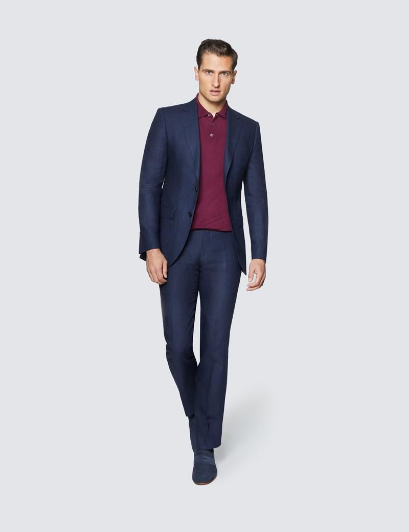Men's Navy Linen Slim Fit Suit Jacket