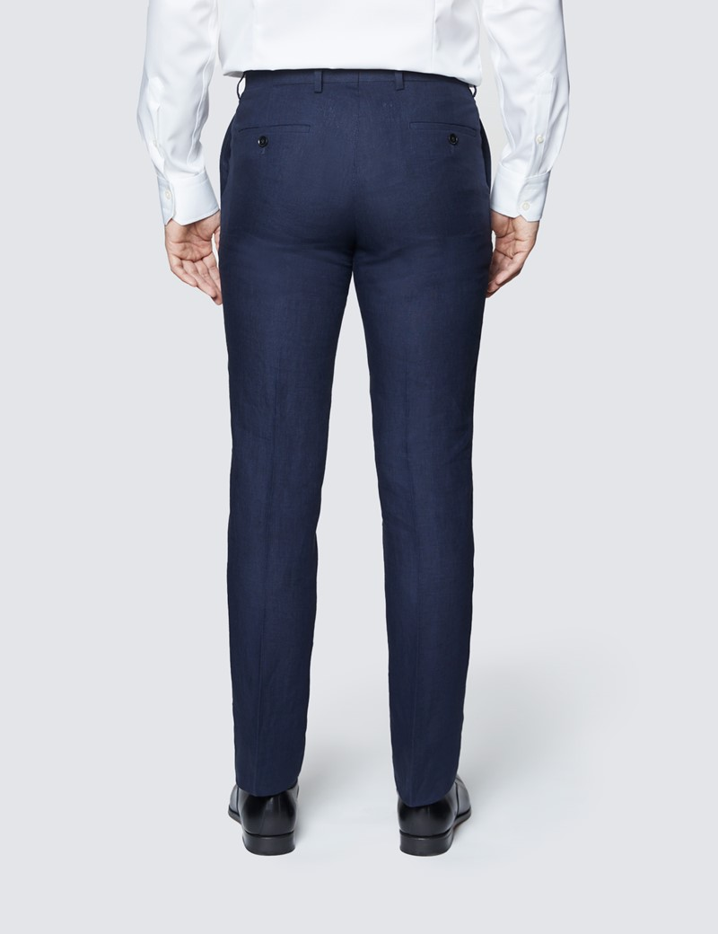 Men's Navy Linen Slim Fit Suit