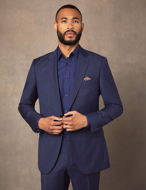 Men's Blue Semi Plain Zigzag Slim Fit Suit Jacket