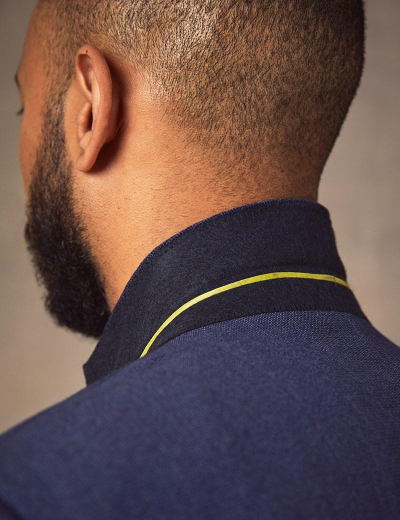 Anzugsakko - Slim Fit - Blaues Webdesign - 100s Wolle - 2-Knopf Einreiher - Gefüttert - Seitenschlitz