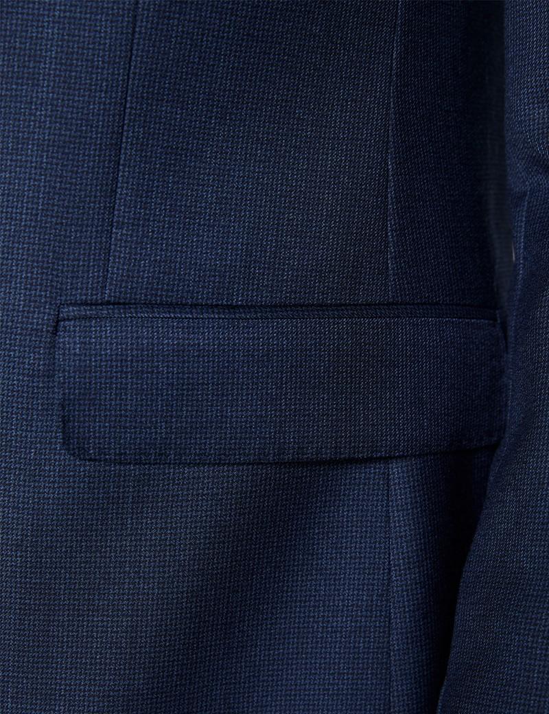 Men's Blue Semi Plain Zigzag Slim Fit Suit Jacket
