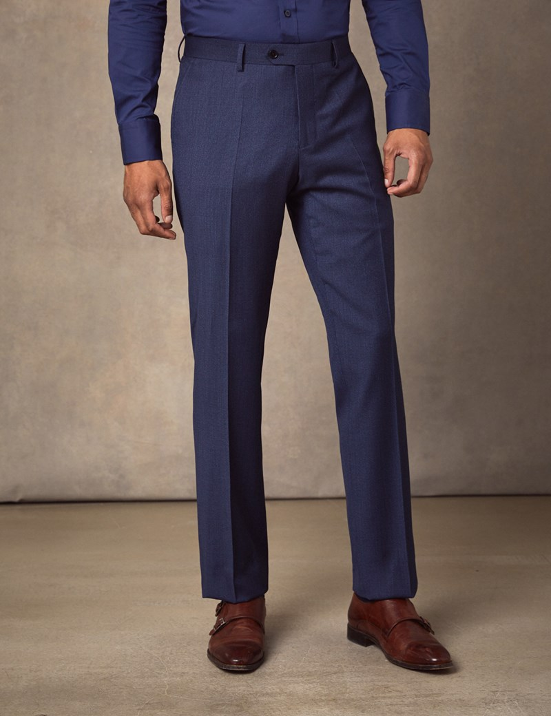 Men's Blue Semi Plain Zigzag Slim Fit Suit