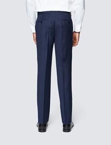 Men's Blue Semi Plain Zigzag Slim Fit Suit