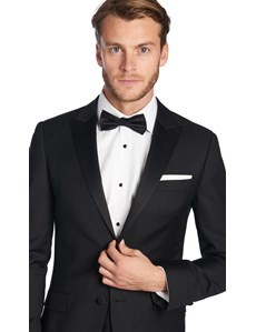 Men's Black Peak Lapel Slim Fit Dinner Suit