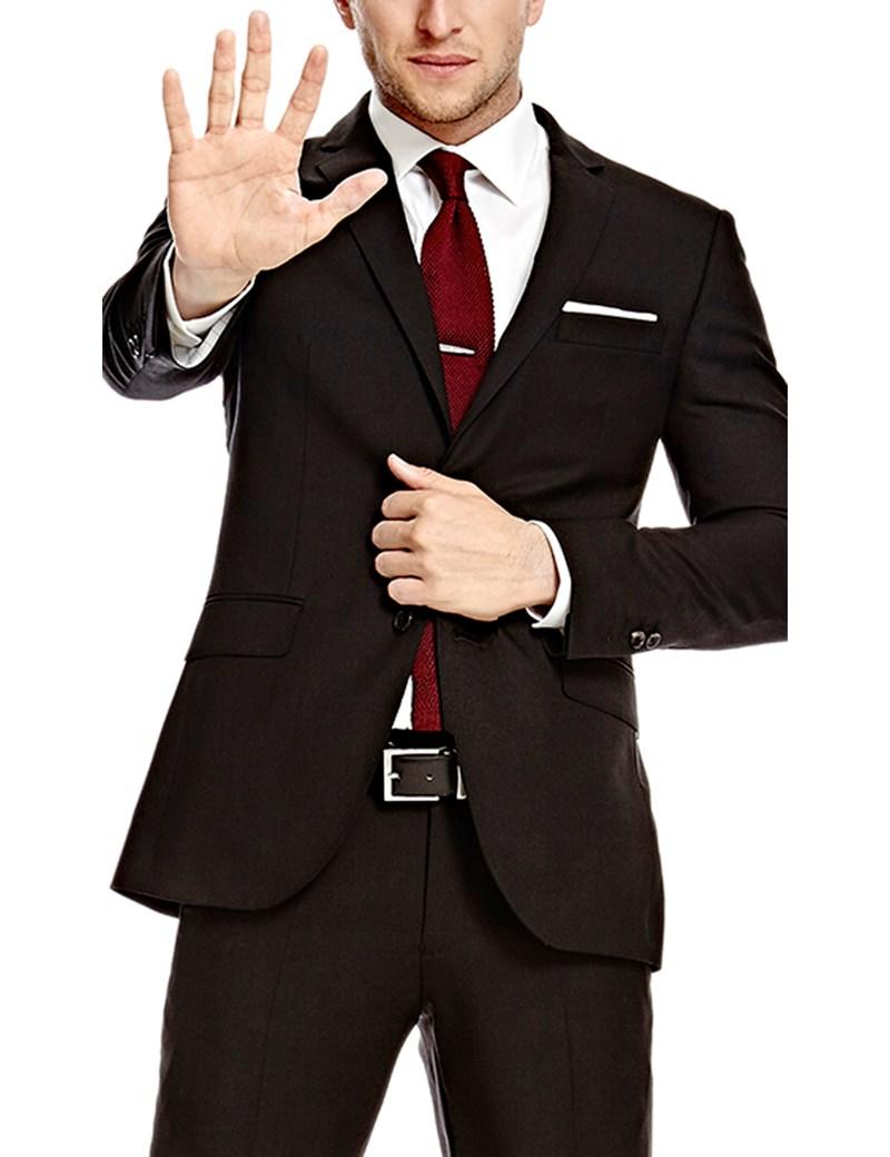 Men's Black Twill Amalfi Classic Fit Suit - Super 120s Wool