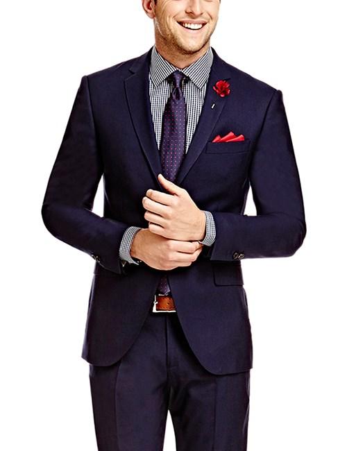 Men's Plain Navy Twill Amalfi Classic Fit Suit Jacket
