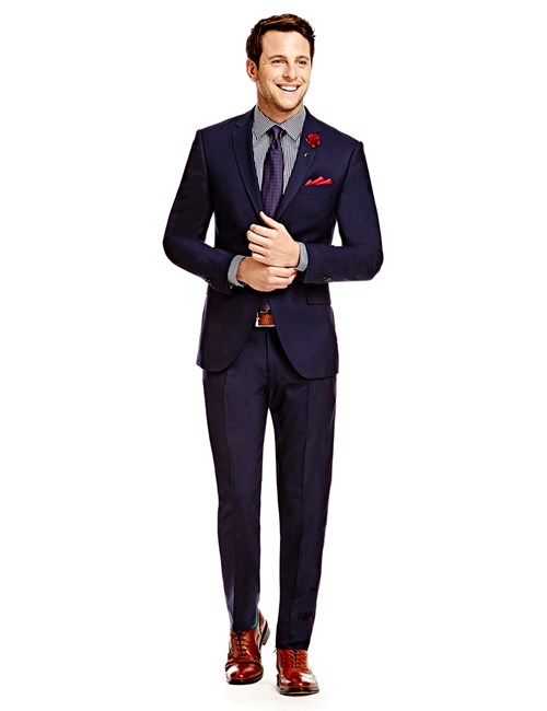 Men's Plain Navy Twill Amalfi Classic Fit Suit - Super 120s Wool