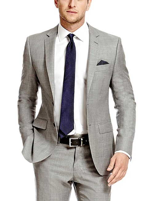 Men's Grey Twill Slim Fit Suit Jacket