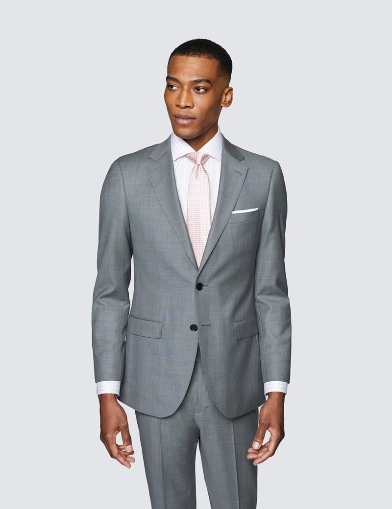 Men's Grey Twill Slim Fit Suit Jacket