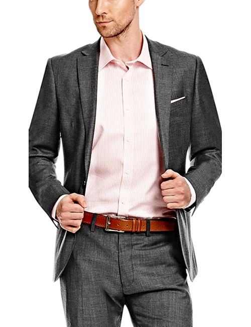Men's Charcoal Twill Slim Fit Suit Jacket