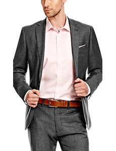 Men's Charcoal Twill Slim Fit Suit - Super 120s Wool