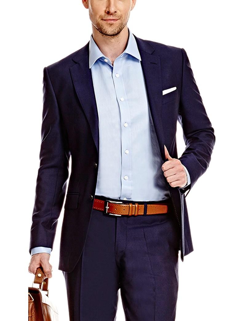 ce1906013 Men's Dark Navy Twill Slim Fit Suit - Super 120s Wool