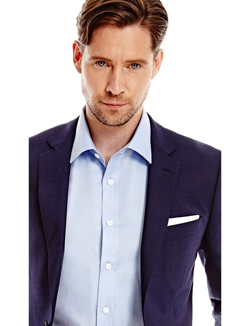 ebbedd8fdf60a Men's Dark Navy Twill Slim Fit Suit - Super 120s Wool Suit | Hawes ...