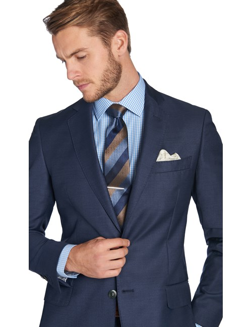 Men's Mid Blue Pique Tailored Fit Italian Suit Jacket - 1913 Collection