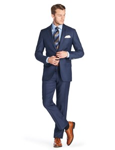 Men's Mid Blue Pique Tailored Fit  Italian Suit - 1913 Collection