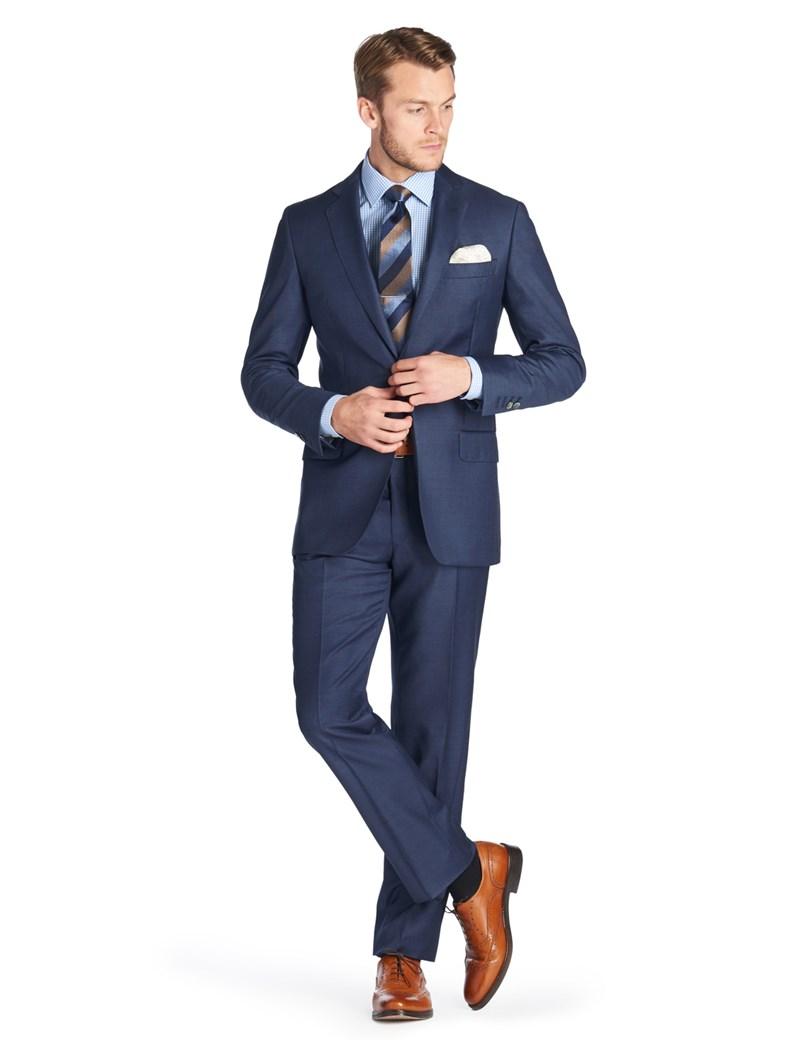 attraktive Mode attraktive Designs klassischer Stil 1913 Kollektion – Luxuriöser Anzug aus 140S Schurwolle – Slim Fit – blau  Piquée
