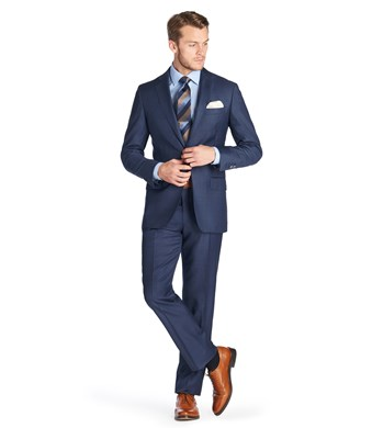 Men's Mid Blue Pique Tailored Fit  Italian Suit - 1913 Collection