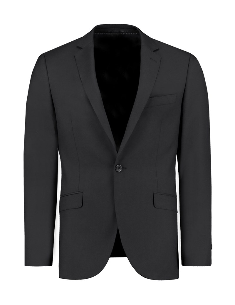 Men's Black Twill Extra Slim Fit Suit Jacket - Super 120s Wool