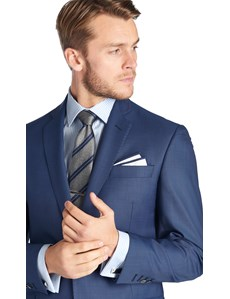Men's Royal Blue Sharkskin Tailored Fit Suit Jacket