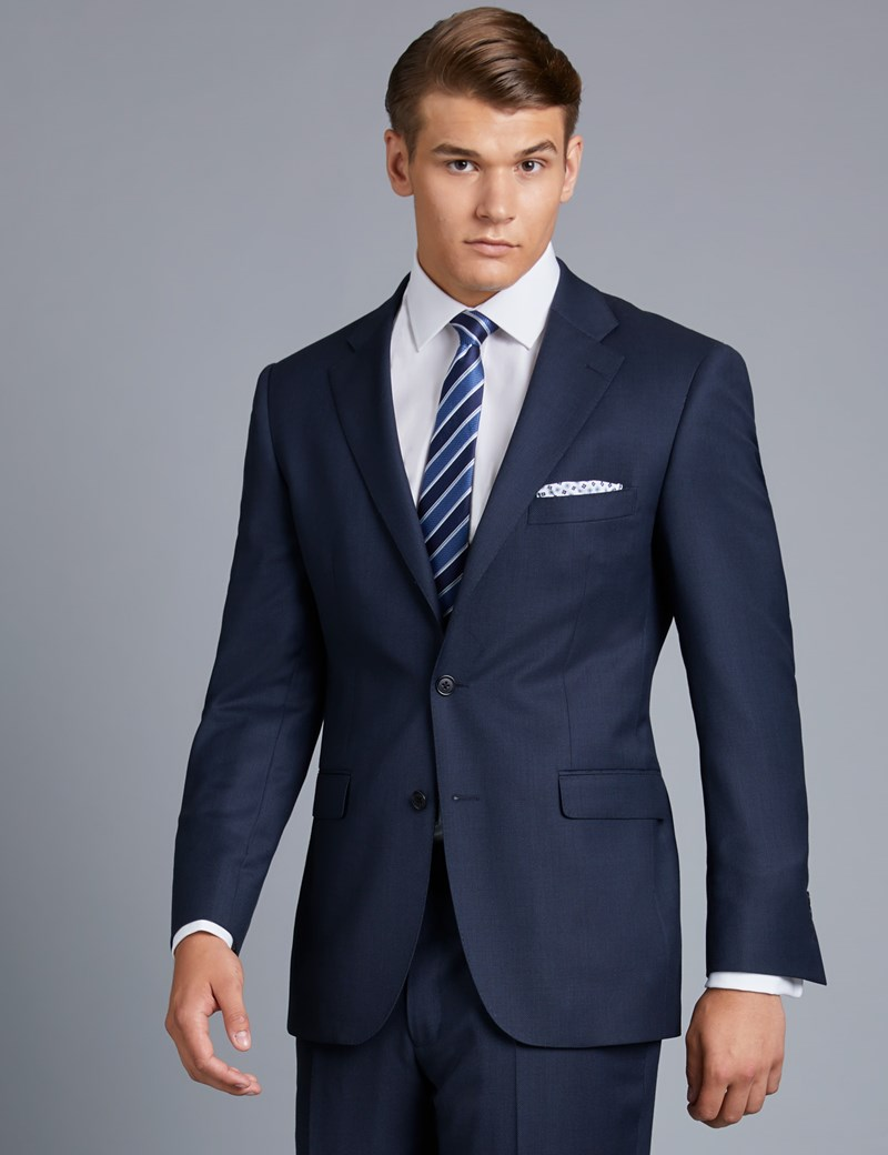 Men's Navy Birdseye Classic Fit Suit - Super 120s Wool