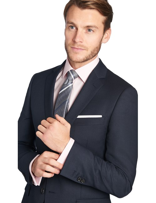Men's Navy Birdseye Slim Fit Suit Jacket -