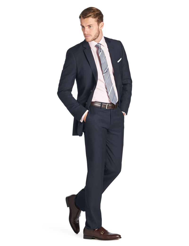Men's Navy Birdseye Slim Fit Suit - Super 120s Wool