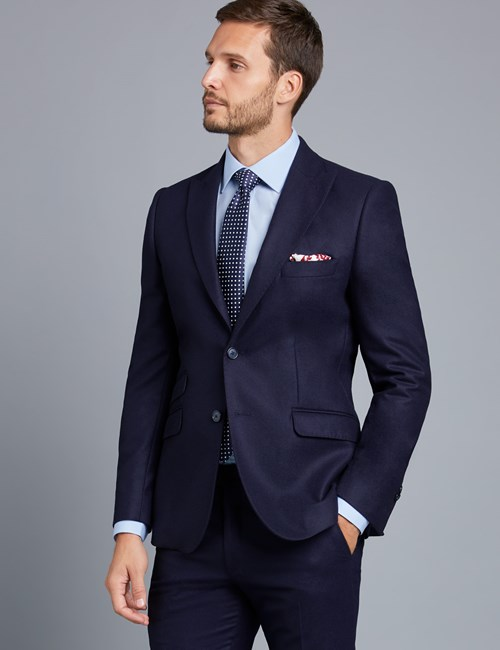 Men's Navy Slim Fit Italian Flannel Suit Jacket – Premium 1913 Collection