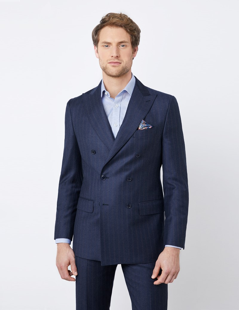 Men's Navy Tonal Stripe Tailored Fit Double Breasted Italian Suit Jacket - 1913 Collection