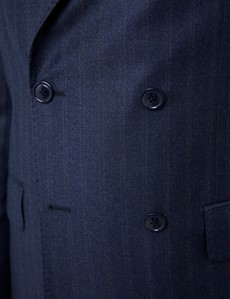 Men's Navy Tonal Stripe Tailored Fit Double Breasted Italian Suit - 1913 Collection