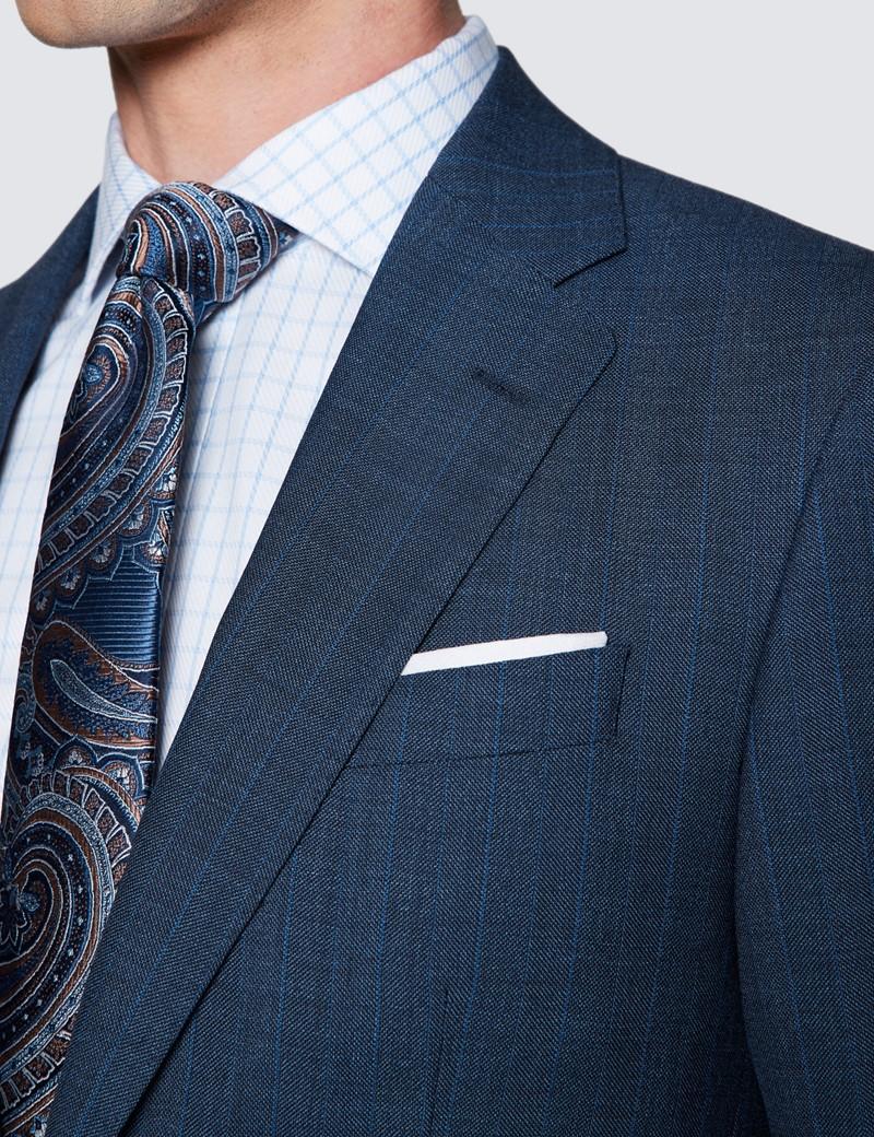 Men's Dark Blue Stripe Tailored Fit Herringbone Italian Suit Jacket - 1913 Collection