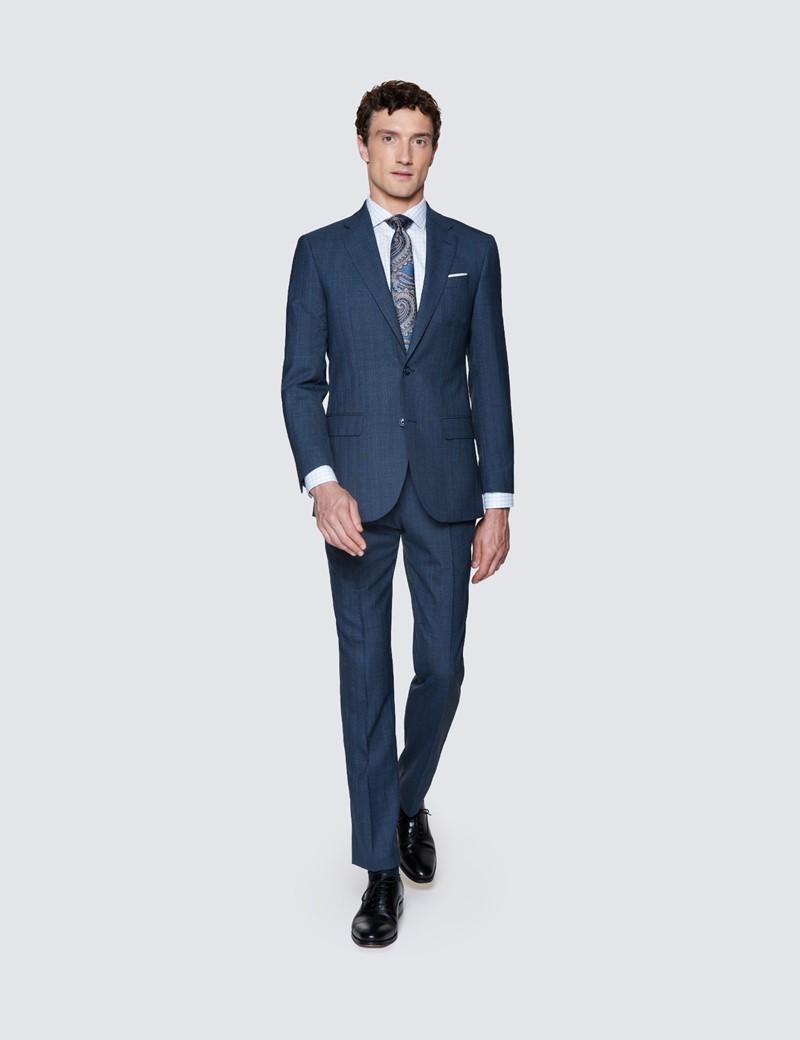 Men's Dark Blue Stripe Tailored Fit Herringbone Italian Suit - 1913 Collection