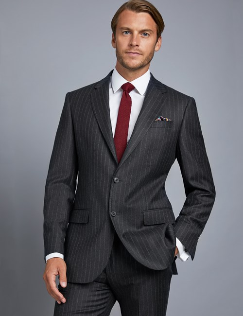 Men's Charcoal Stripe Tailored Fit Italian Suit Jacket - 1913 Collection