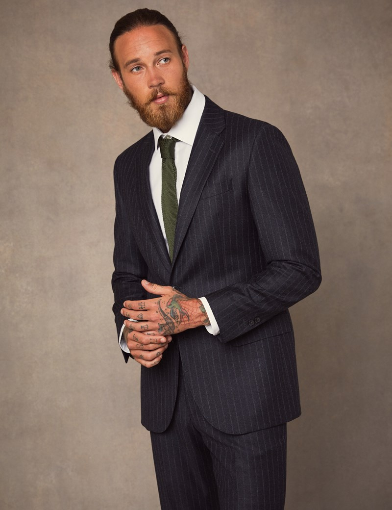 Men's Charcoal Chalk Stripe Tailored Fit Italian Suit Jacket - 1913 Collection