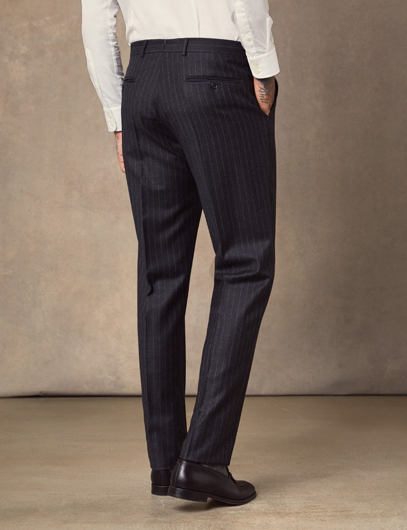 Men's Charcoal Chalk Stripe Tailored Fit Italian Suit - 1913 Collection