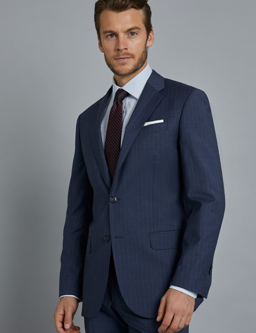 Men's Dark Blue Tonal Stripe Tailored Fit  Italian Suit Jacket - 1913 Collection