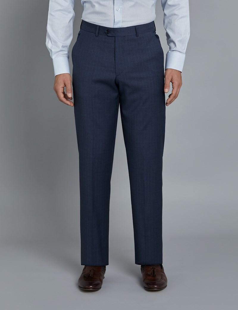 1913 Kollektion – Luxuriöser Anzug aus 110S Schurwolle – Tailored Fit – Dunkelblau mit tonalen Streifen