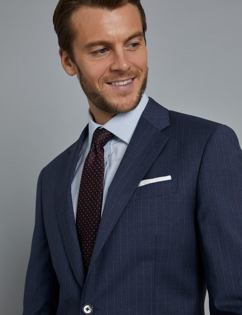 Men's Dark Blue Tonal Stripe Tailored Fit Italian Suit - 1913 Collection