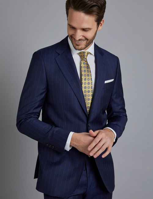 Men's Navy Wide Stripe Slim Fit  Italian Suit Jacket - 1913 Collection